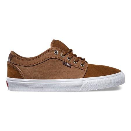 Vans Chukka Low Herringbone Twill Tobaco Men's Classic Skate Shoes Size 7.5