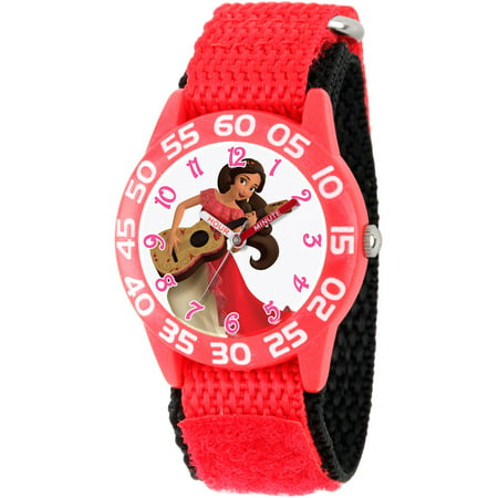 Disney Elena Of Avalor Girls Red Plastic Time Teacher Watch  Red Nylon Strap With Black Backing