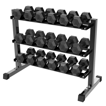 3 tier dumbbell rack stand weight shelf rack holder home
