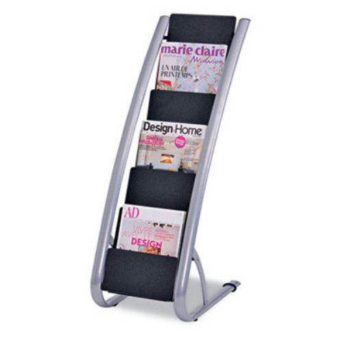Alba DDEXPO6 Literature Floor 6-Pocket Display Rack - BLK/Chrome