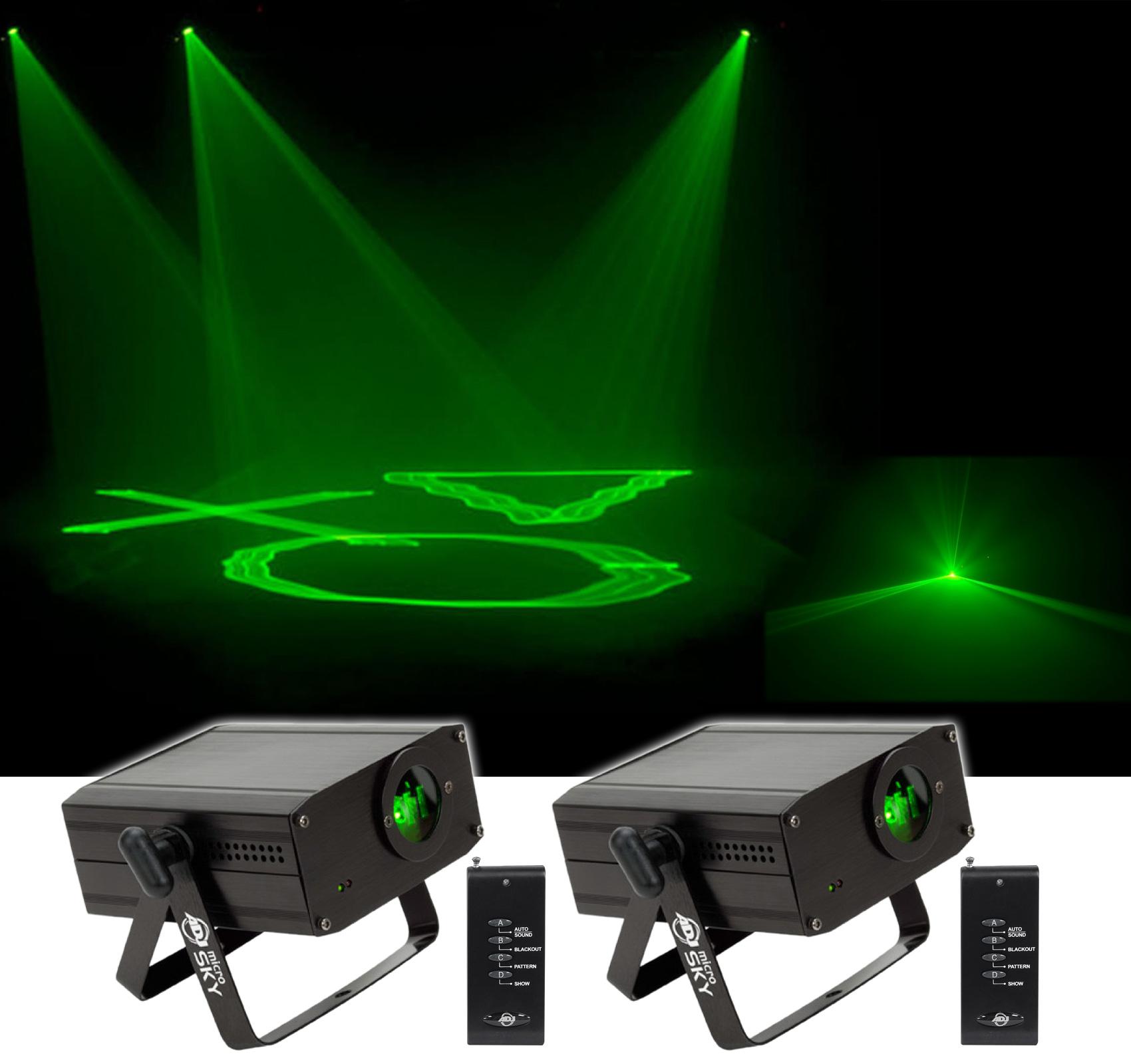 (2) American DJ MICRO SKY Mini Green Laser w/ Liquid Sky Effect Club/Stage Light