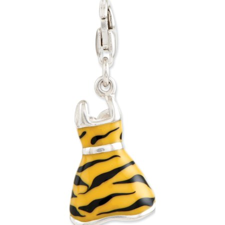 925 Sterling Silver Click-on CZ Enamel Tiger Dress (12x40mm) Pendant / Charm - image 2 of 2