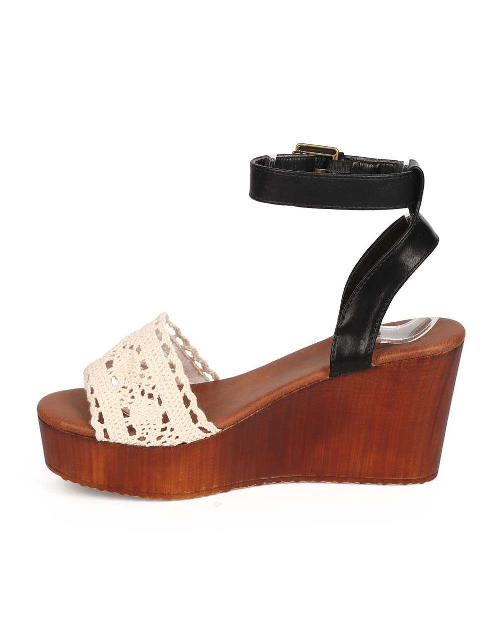 3cf96e40ddf Bumper - Bumper EB13 Women Mix Media Peep Toe Crochet Wooden Wedge Sandal -  Walmart.com