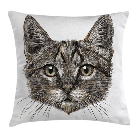 Animal Decor Throw Pillow Cushion Cover, Cute Little Chubby Cat Head Looking Innocently with Long Whiskers Sketchy Like Art, Decorative Square Accent Pillow Case, 18 X 18 Inches, Grey, by Ambesonne - Cute Chubby Teen