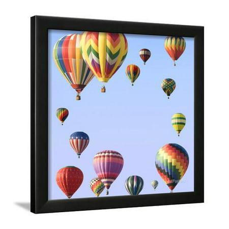 Hot Air Balloons Arranged Around Edge Of Frame Framed Print Wall Art
