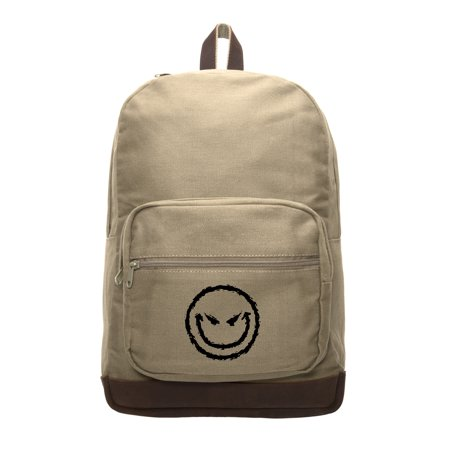 - Evil Smiley Face Canvas Teardrop Backpack with Leather Bottom Accents
