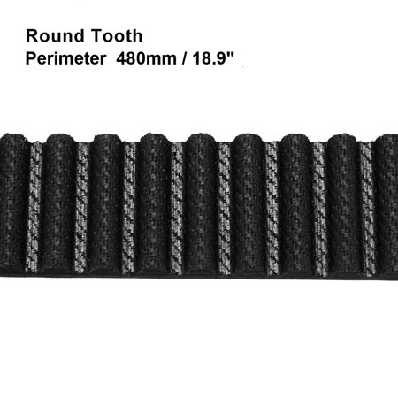 Unique Bargains HTD5M 96 Teeth Engine Timing Belt Rubber Geared-Belt 480mm Girth 15mm Width - image 1 of 2