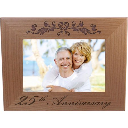 25th Anniversary - 4x6 Inch Wood Picture Frame - Great Anniversary gift for friends, parents and family