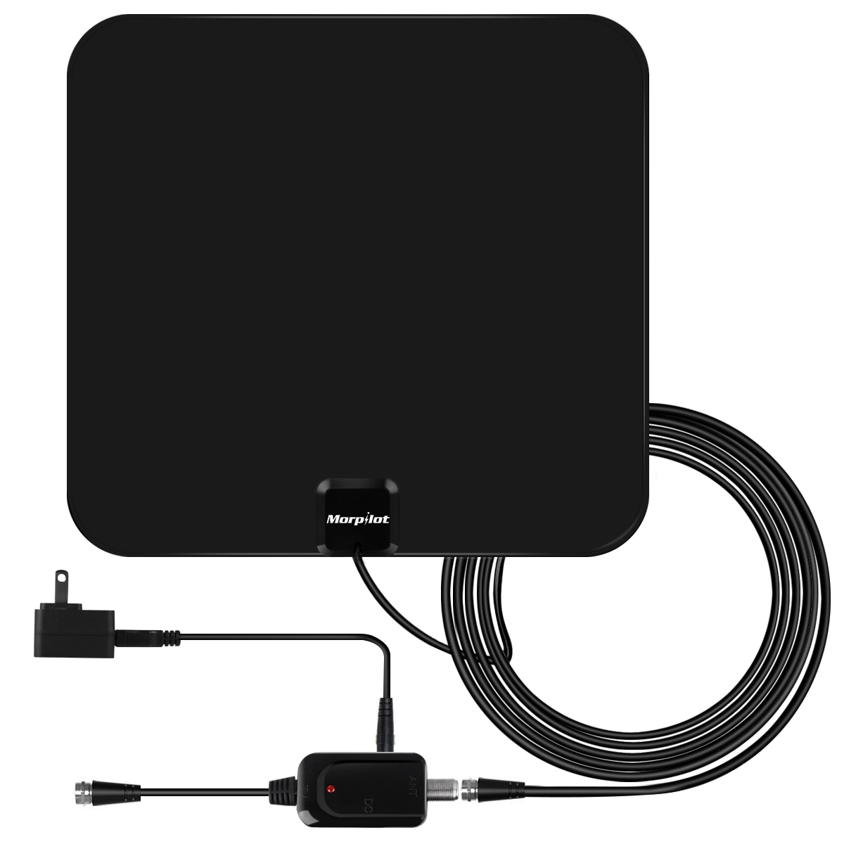 [NEWEST 2018] Amplified HD Digital TV Antenna with Long 65-80 Miles Range – Support 4K 1080p & All Older TV's for Indoor with Powerful HDTV Amplifier Signal Booster - 12ft Coax Cable / Power Adapter