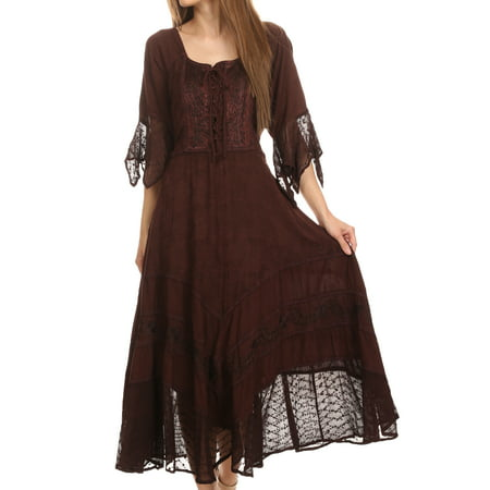 Sakkas Bexley Scoop Neck Bell Sleeve Bohemian Gypsy Embroidered Corset Dress - Chocolate - 1X/2X