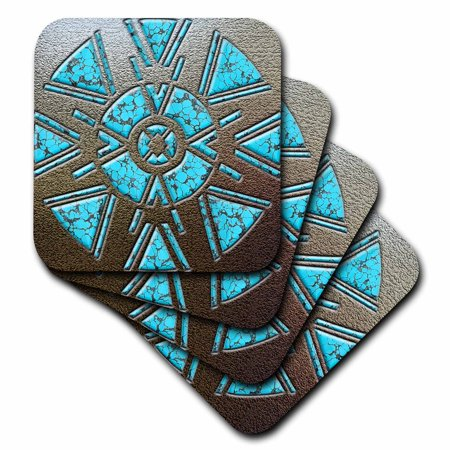 3dRose Designer One of A Kind Native American Art, Soft Coasters, set of 4