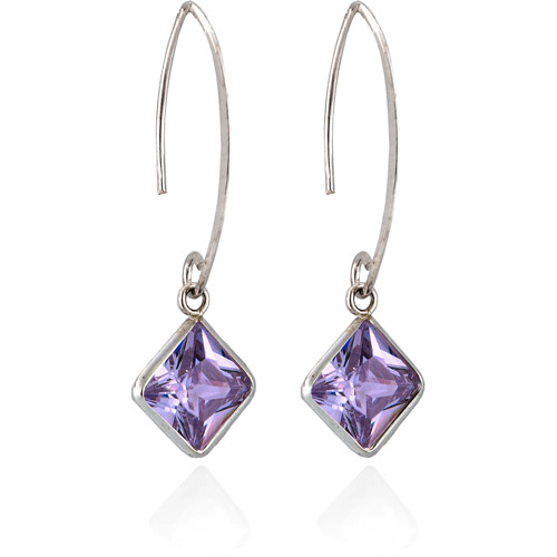 "Lavender CZ Rhodium over Sterling Silver Square Bezel Set 1-1/2"" Drop Earrings"