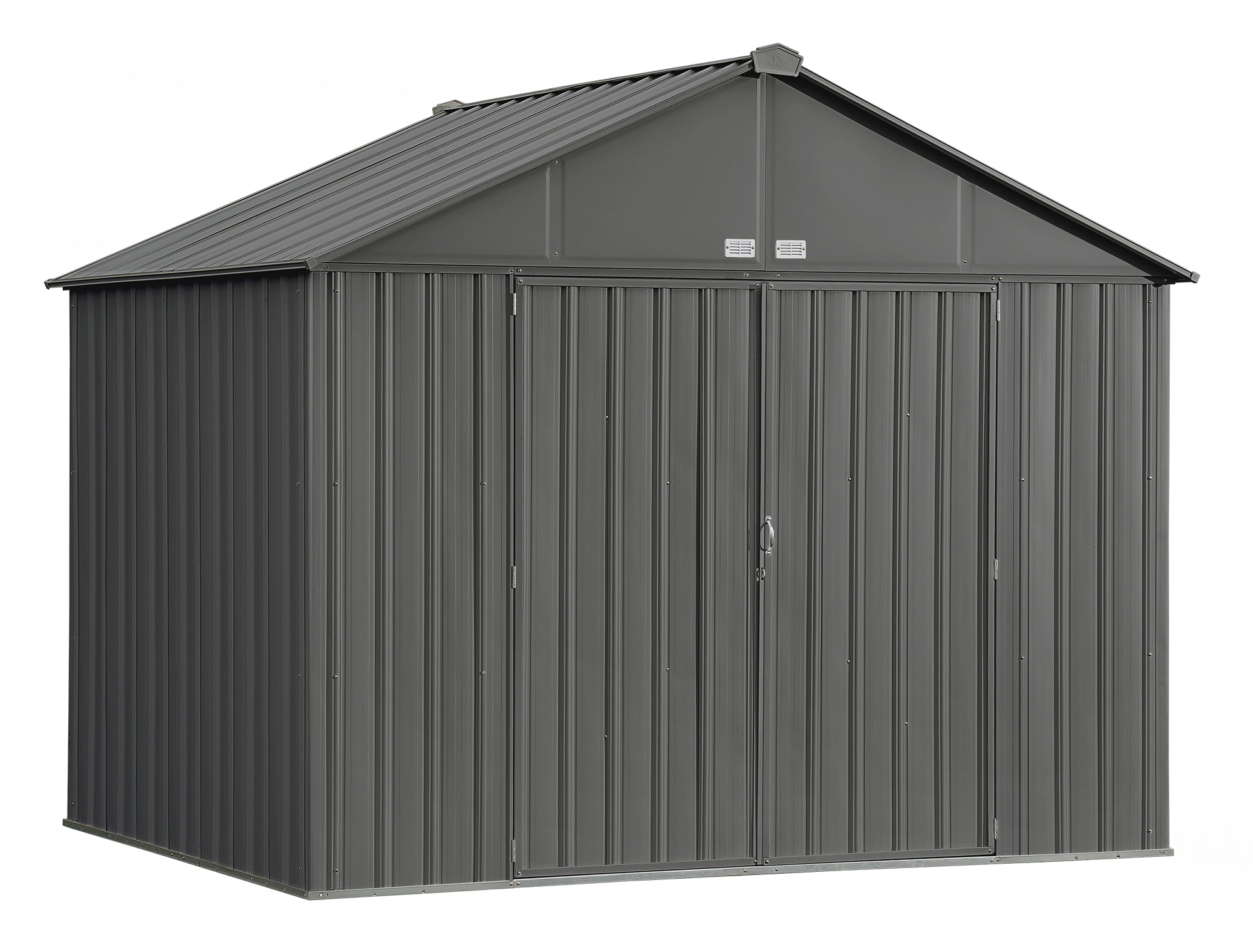 EZEE Shed Steel Storage 10 x 8 ft. Galvanized Extra High Gable Charcoal