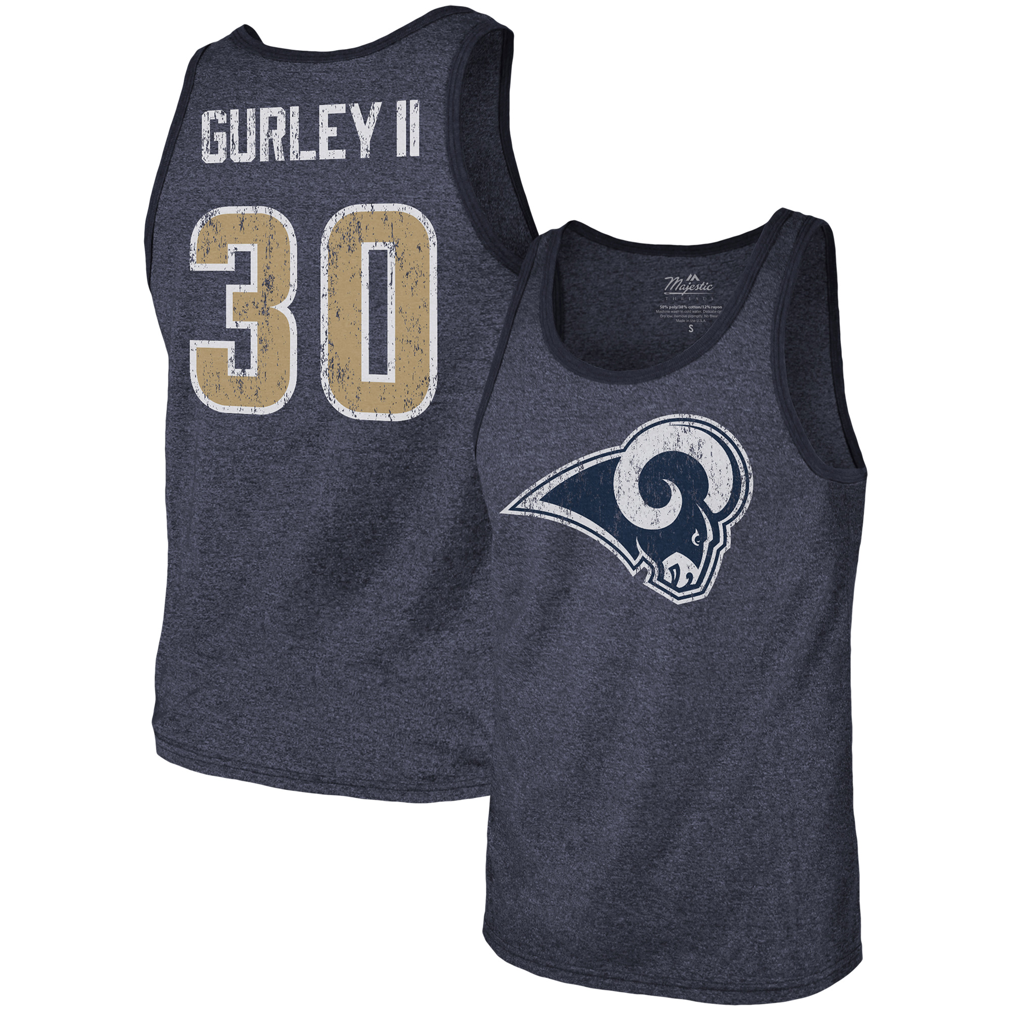 Todd Gurley II Los Angeles Rams Majestic Threads Tri-Blend Name & Number Tank Top - Navy