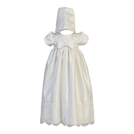 Baby Girls White Satin Embroidered Lace Bow Christening Gown