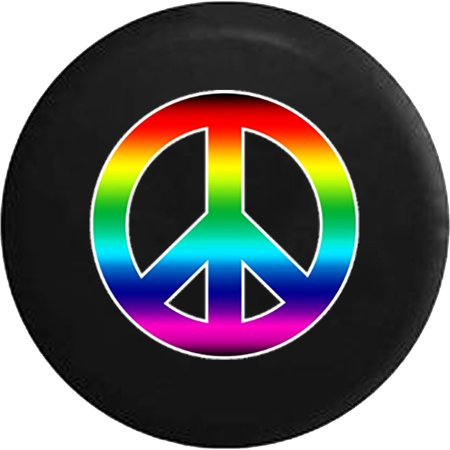 Rainbow Colorful Peace Sign Gay Spare Tire Cover for Jeep RV