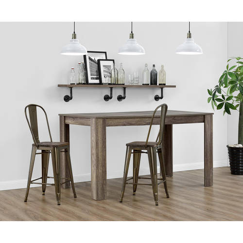 """Dorel Home Products Luxor 24"""" Metal Counter Stool with Wood Seat, Set of 2, Multiple Colors"""