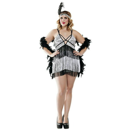 Starline Women's Plus Size Boardwalk Flapper Roaring 20s Costume Set, Silver/Black, 1X (20s Headpiece)