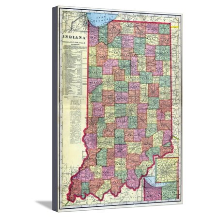 1909, Indiana State Map, Indiana, United States Stretched Canvas ...