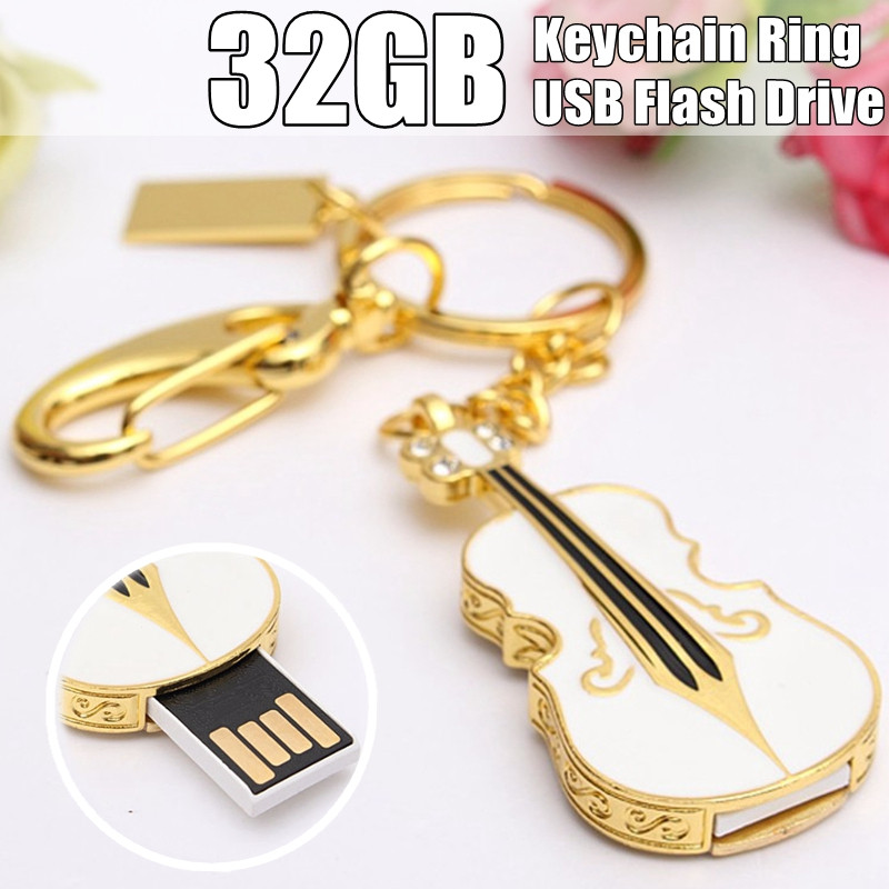 BESTRUNNER 1 pieces of 32GB USB 2.0 Crystal Violin Model Flash Memory Stick Storage Thumb Pen Drive
