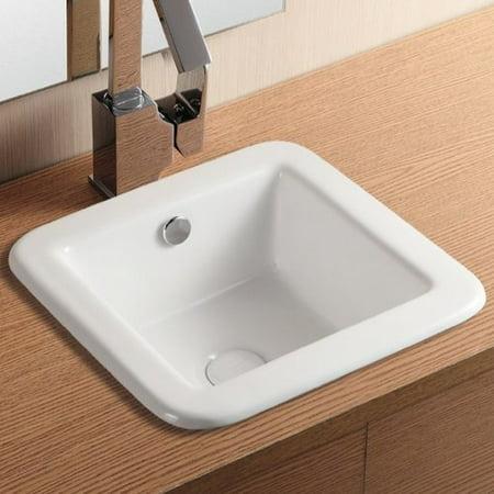 Caracalla Ceramica Ii Ceramic Square Drop In Bathroom Sink With Overflow