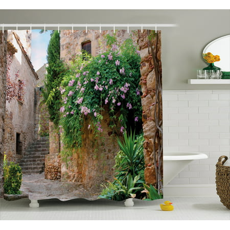 Landscape Shower Curtain, Summer Garden Flowers Marigold Stones Antique Ancient House in Spain Art Print, Fabric Bathroom Set with Hooks, 69W X 70L Inches, Multicolor, by Ambesonne