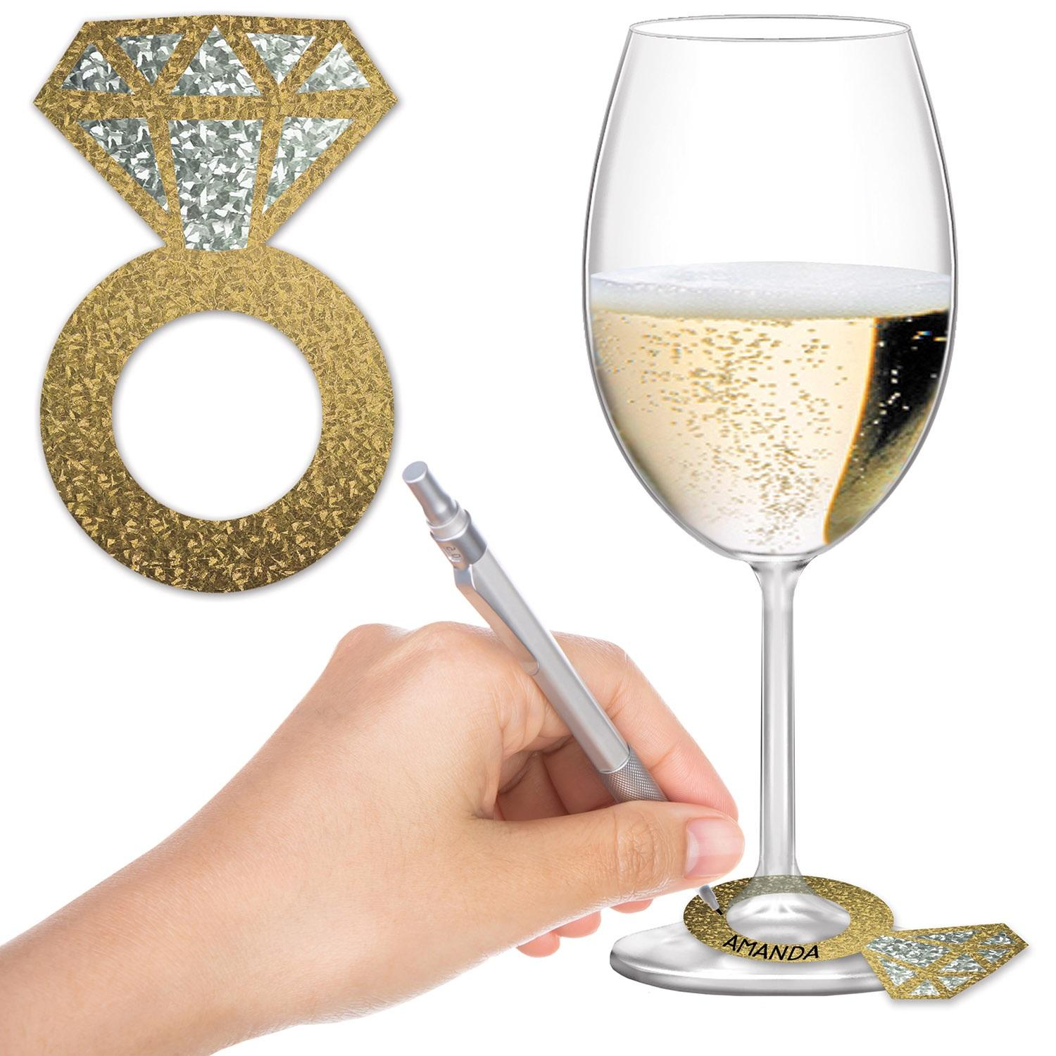"""Club Pack of 288 Decorative Party Diamond Ring Wine Glass Markers 3.5"""""""