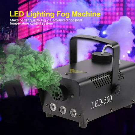 WALFRONT 500W RGB LED Fog Machine Remote Control Stage Fogger Smoke Maker Kit US Plug,LED Fog Machine, RGB LED Fogger