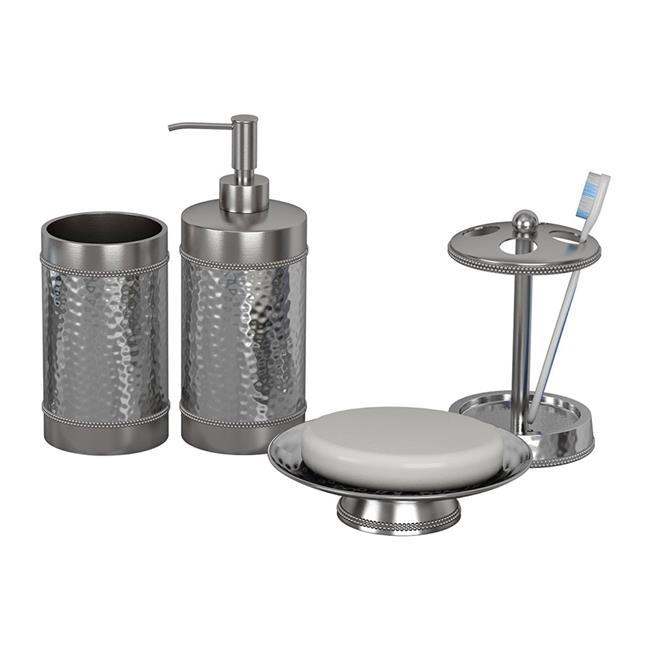 NuSteel HS-3456-SET4 Soap Dish  Tooth Brush Holder  Tumbler & Lotion Pump Hudson Set  4 Piece