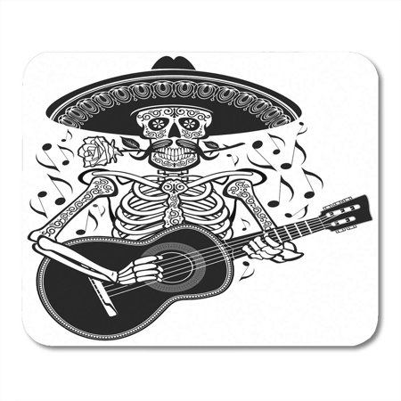 KDAGR Dead Mexican Mariachi Skeleton Wearing Sombrero and Playing Guitar Skull Musician Mousepad Mouse Pad Mouse Mat 9x10 inch