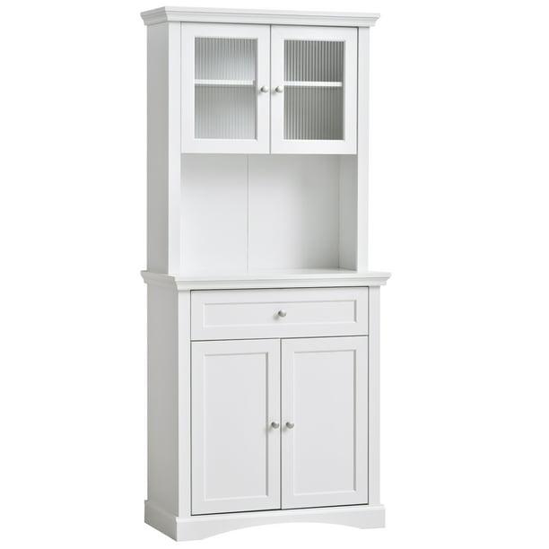 Homcom Traditional Freestanding Kitchen Pantry Cabinet Cupboard With Doors Adjustable Shelving Walmart Com Walmart Com