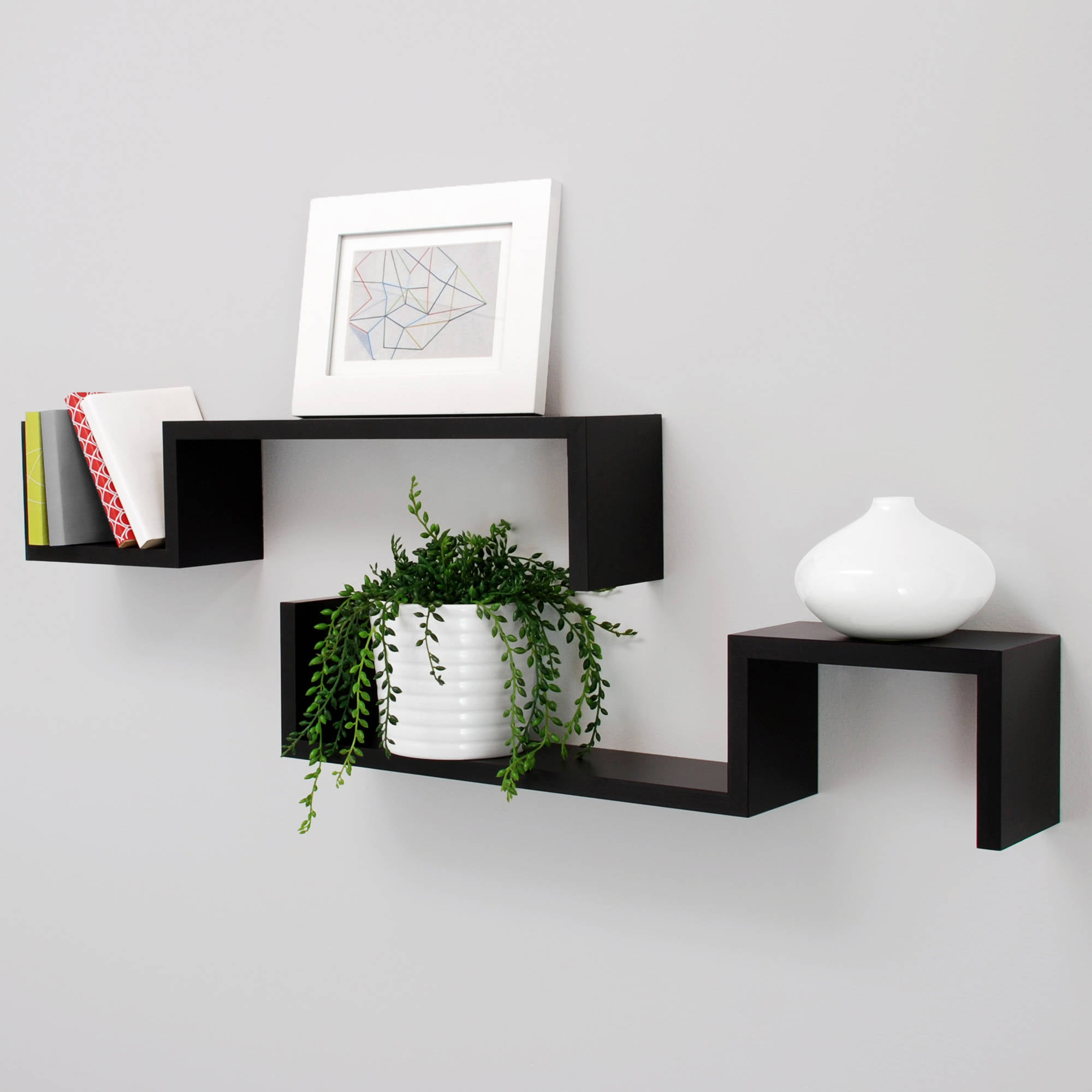 New black finished wood set of 2 wall floating shelf s for Home decor wall hanging