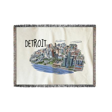 Detroit  Michigan   Line Drawing   Lantern Press Artwork  60X80 Woven Chenille Yarn Blanket