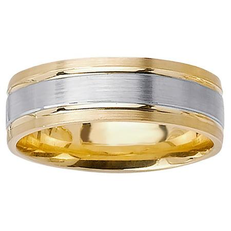 e5c0af12c565a Wedding Rings Depot - 14K Two Tone Gold Center Runway Modern Comfort Fit  Men's Wedding Band (7mm) - Walmart.com
