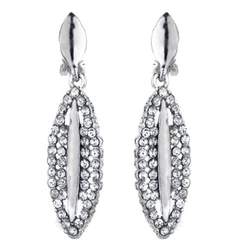 Emitations Fancy Rhinestone Drop Clip On Earrings