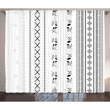 Henna Curtains 2 Panels Set, Vertical Stripes with Geometric Floral Old Fashioned Motifs Rangoli Inspired Design, Window Drapes for Living Room Bedroom, 108W X 90L Inches, Black White, by (Best Rangoli Designs In India)