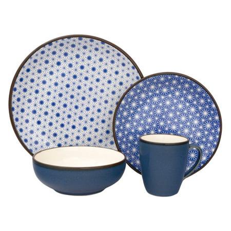 Sango Celestial Blue 16 Piece Dinnerware Set, Including 4 Dinner Plates, 4 Salad Plates, 4 Soup Bowls, and 4 Mugs - Walmart Plates And Bowls