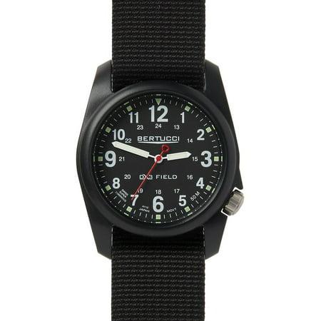 Bertucci Unisex DX3 Field Resin Watch - Black Nylon Strap - Black Dial - 11015