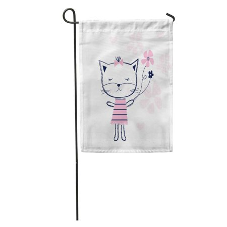 KDAGR Pattern Cute Cat Flowers Graphics Girlie Happy Kitty Meow Birthday Garden Flag Decorative Flag House Banner 12x18 inch - Kitty's Flowers