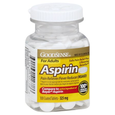 Good Sense Coated Aspirin Pain Reliever Tablets 325 mg , 100-count