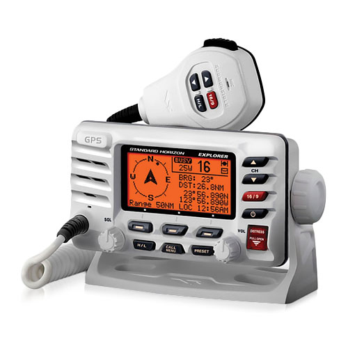 Standard Horizon GX1700 Explorer GPS VHF Radio -White Marine Transceiver with Built-in GPS