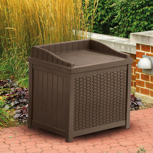 Suncast 22 Gallon Java Resin Wicker Small Storage Seat Deck Box SSW1200