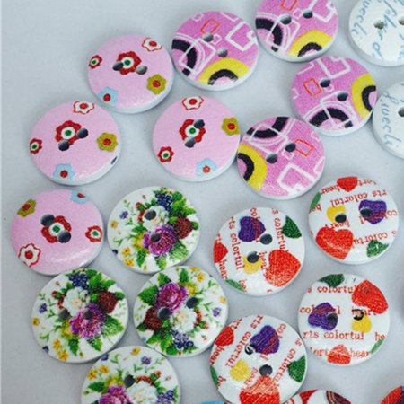 Ustyle 100Pcs/bag Wood Cute Cartoon Animal Buttons Sewing Children Buttons Clothes Ornament DIY Making - image 5 of 6