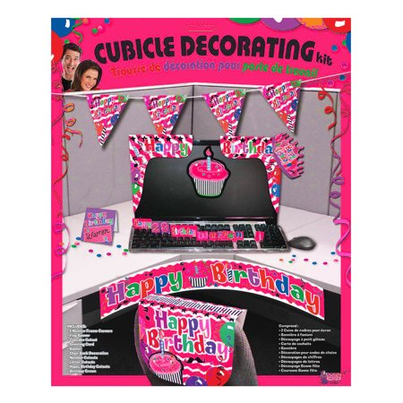 Adult's Happy Birthday Work Desk Cubicle Office Pink Decorating Kit