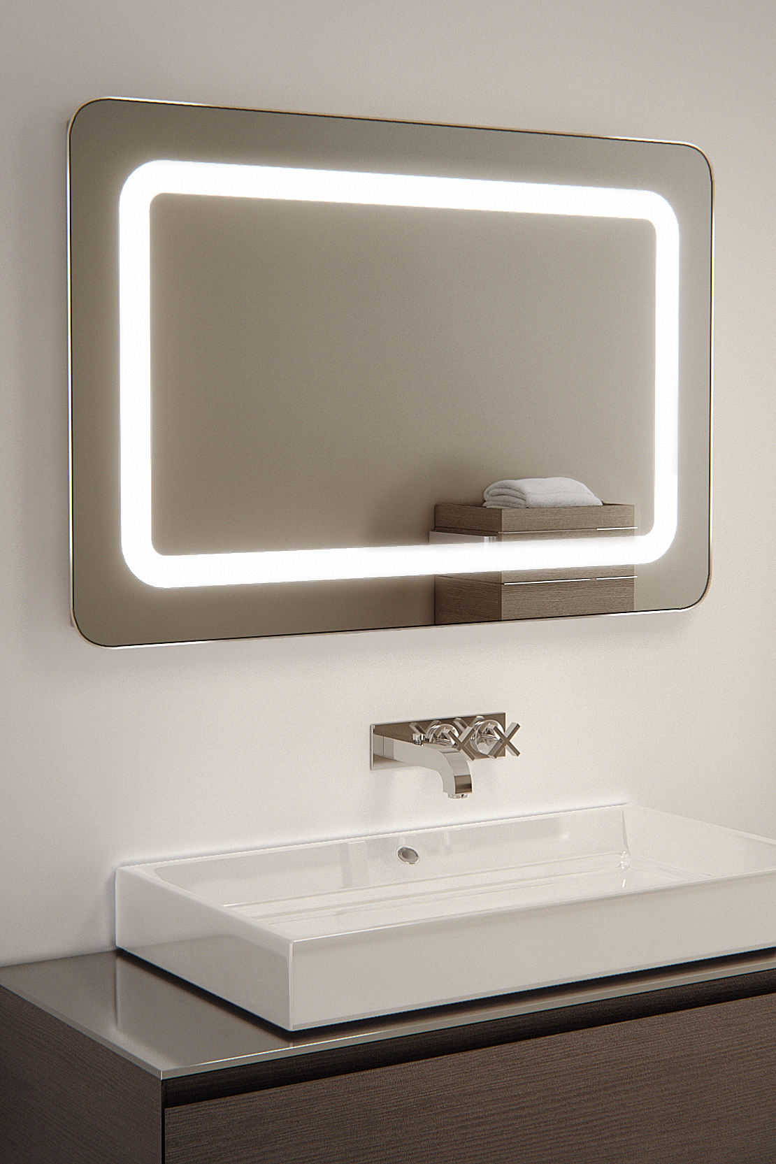 raja shaver led bathroom illuminated mirror with demister 23525