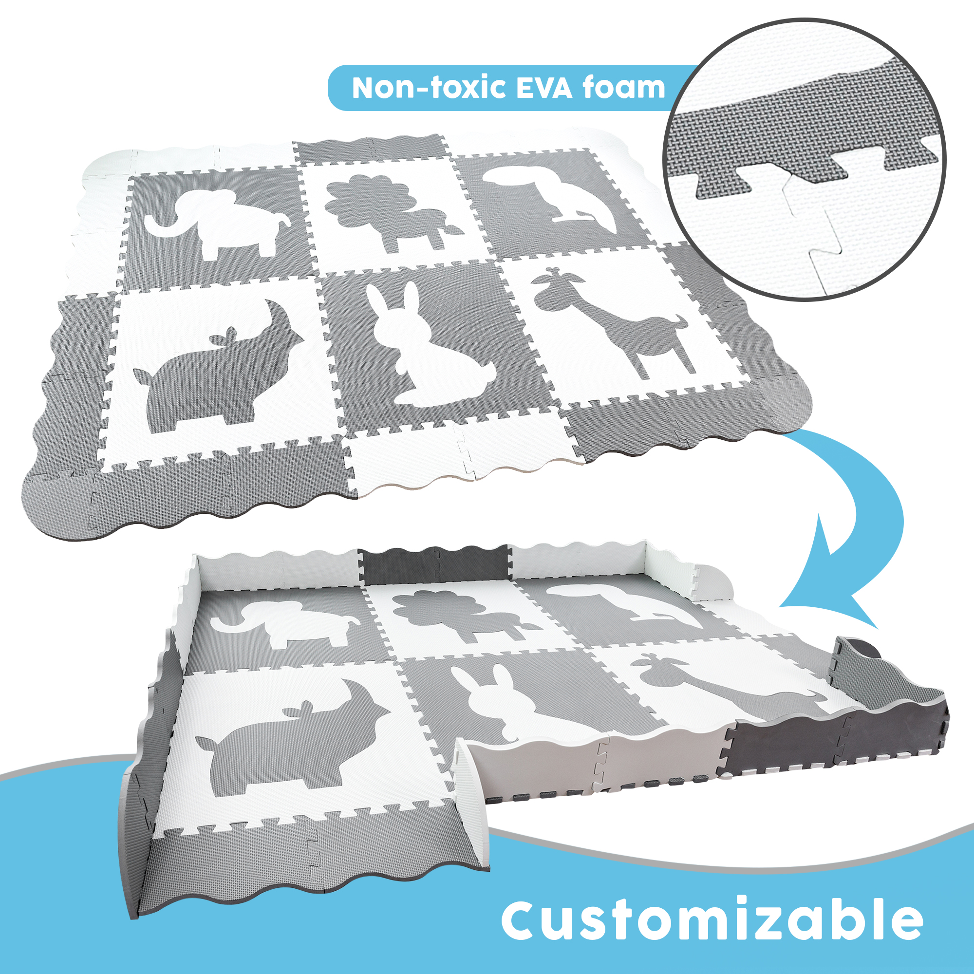 Large Baby Play Mat (5x7') | Soft, Thick, Foam Floor Mat for