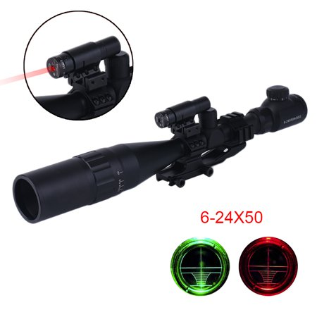 2017 New 6 24X50 Tactical Riflescope Hunting Light Red Dot Scope Red Laser Light Optical Sight Scope