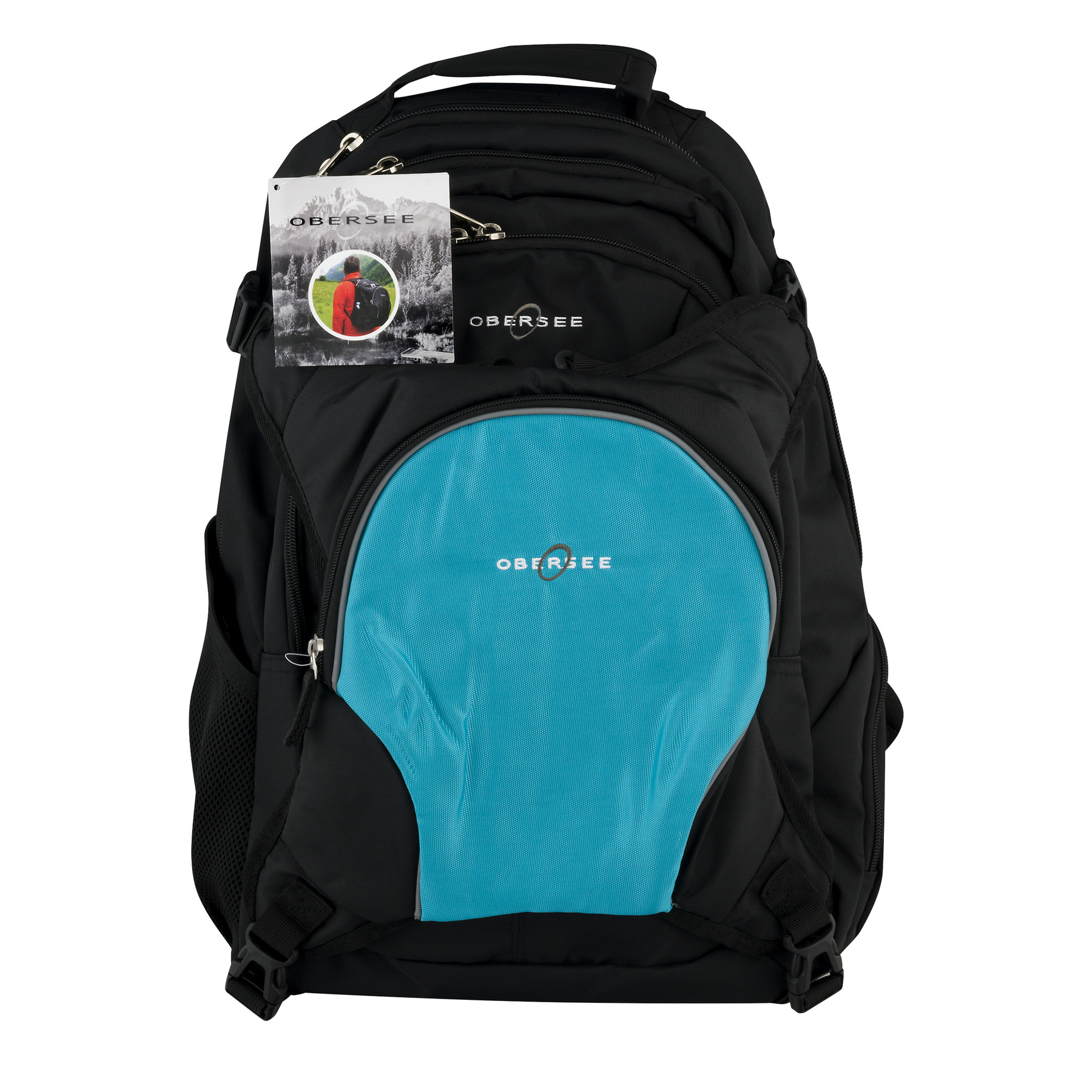 Obersee Bern Diaper Bag Backpack With Cooler Black/Turquoise, 3.0 CT