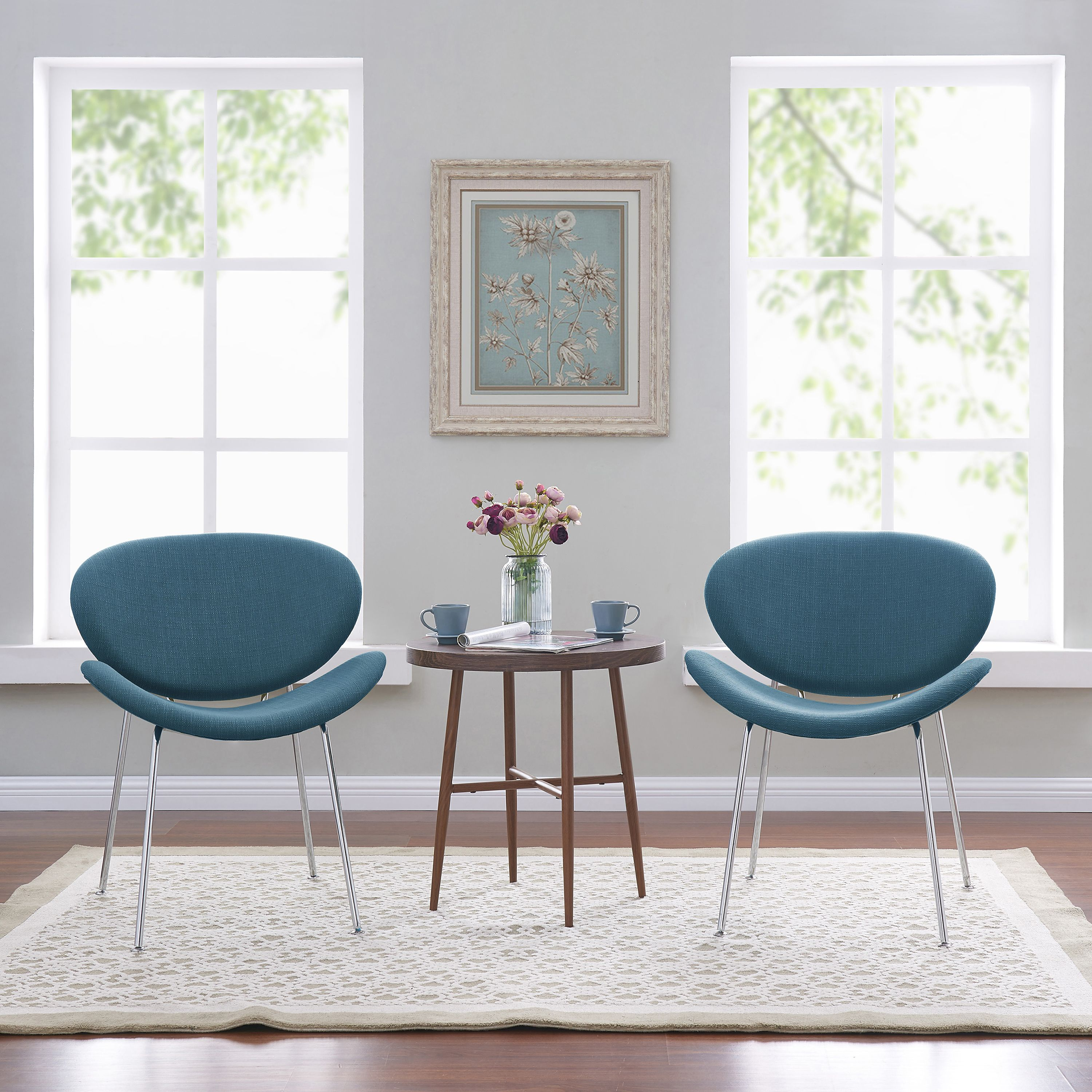 Mainstays Armless Metal Frame Accent Chair, Set of 2, Multiple Colors