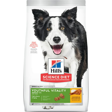 Hill's Science Diet (Spend $20, Get $5) Senior 7+ Youthful Vitality Chicken & Rice Recipe Dry Dog Food, 21.5 lb bag-See description for rebate